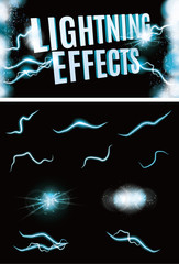 Set of Vector glowing special lightning effects for design
