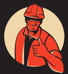 Construction Worker Thumbs Up Retro