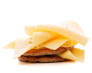 Cheese sandwich isolated on white background cutout