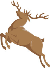 Elk Stag Deer Jumping Retro