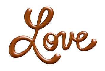 love, written with chocolate. 3D illustration.