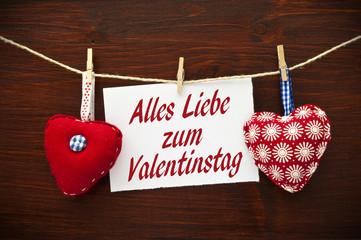 Stoffherzen mit Karte Valentinstag