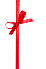 Festive red gift ribbon and bow