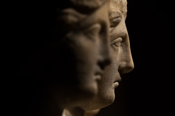 Three headed roman-asian ancient statue of beautiful women, Godd