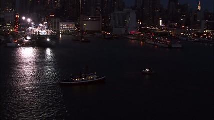 Boat Ocean Lights New York