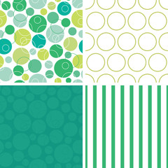 Vector abstract green circles set of four marching repeat