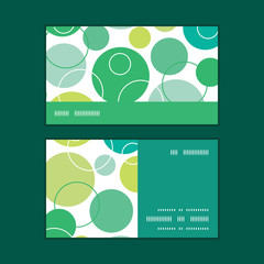 Vector abstract green circles horizontal stripe frame pattern