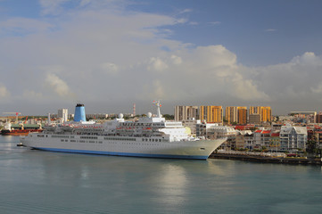 Cruise liner in port. Pointe-a-Pitre, Guadeloupe
