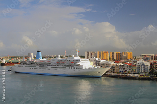 Cruise liner in port. Pointe-a-Pitre, Guadeloupe - 76585835