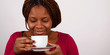 kaffee trinken., frau, afrikanerin