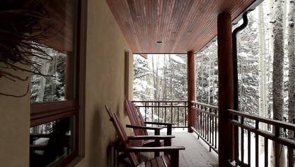 Deck Cabin Trees Snow