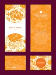 Vector golden art flowers vertical frame pattern invitation