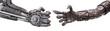 Leinwanddruck Bild - handshake of Metallic cyber or robot made from Mechanical ratche