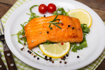 Grilled salmon steak on the plate