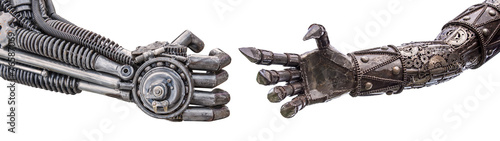 Leinwanddruck Bild handshake of Metallic cyber or robot made from Mechanical ratche