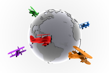 Global aviation with toy planes