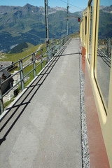 Platform on train station nearby Jungfraujoch in Switzerland