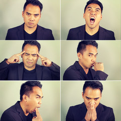 six emotions of an Asian man on a green background