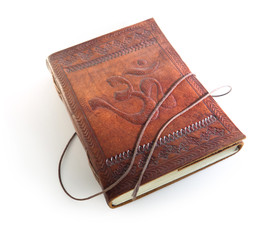Leather notebook with a sign Om