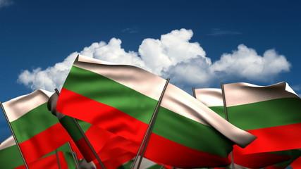 Waving Bulgarian Flags