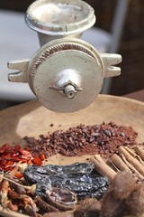 Cacao beans and spices
