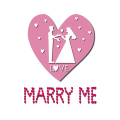 White silhouette marry me Illustration