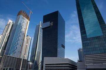 high luxury modern building skyscraper, crane
