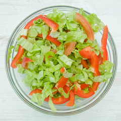 Dietary salad with peppers and tomatoes