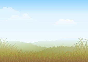 Countryside landscape field of grass