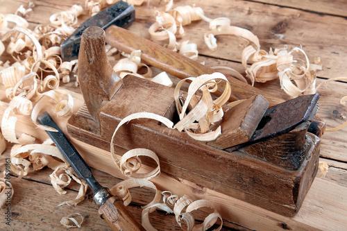 Leinwanddruck Bild Holzhobel