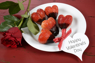 Valentine heart shape red strawberries