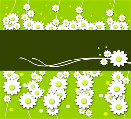 spring flowers pattern on green texture