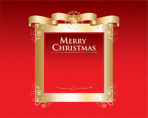 Christmas background with golden frame and decoration