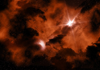 Fiery Space sky background