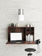 Mock up loft office, 3d illustration