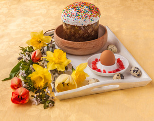 Easter still life with traditional kulich