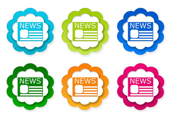 Set of colorful stickers icons with news symbol