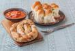 Ring homemade sausage and buns with garlic