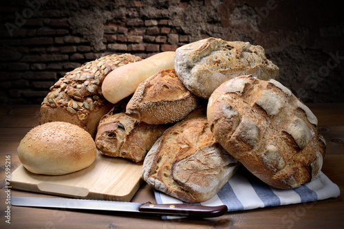 Fotobehang Brood Different types of bread