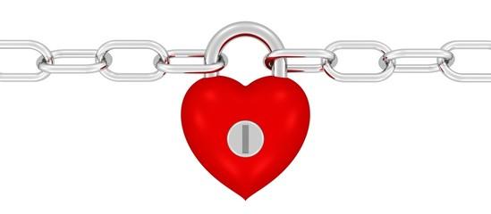 starkes Herz hält eine Kette zusammen