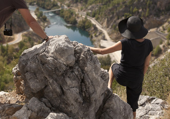 Man and woman hikers trekking roads in Turkey