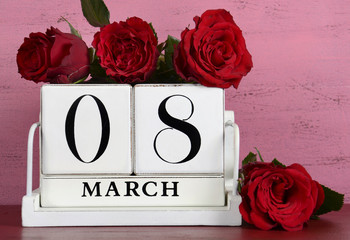March 8, International Womens Day, calendar with red roses .