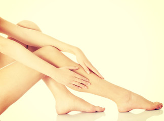 Beautiful shaved woman's legs.