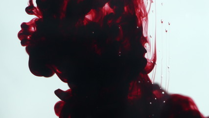 Abstract dynamic flow of dark red blood ink in water on white