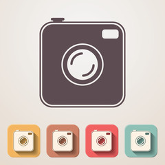 Old photocamera flat icons set fadding shadow effect