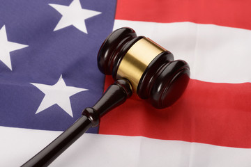 Wooden Gavel Over Usa Flag