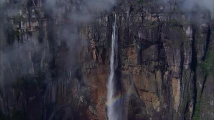 Waterfall Trees Rocky Boulders Mountain