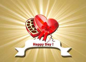 San Valentín, felicitación, bombones, etiqueta, fondo