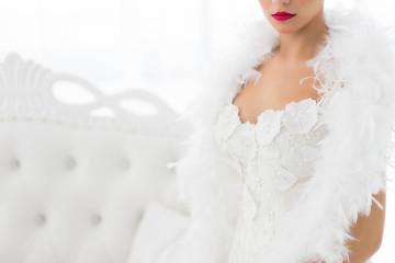 Half portrait of beautiful bride