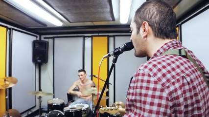 Band in studio - singer -steadycam